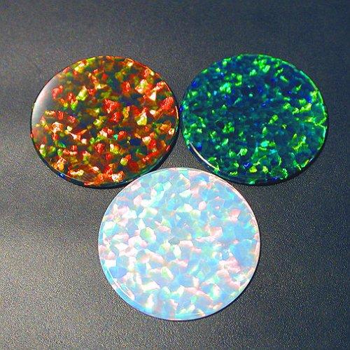 Gilson Created Opal Black 30mm Coin Shaped Opals